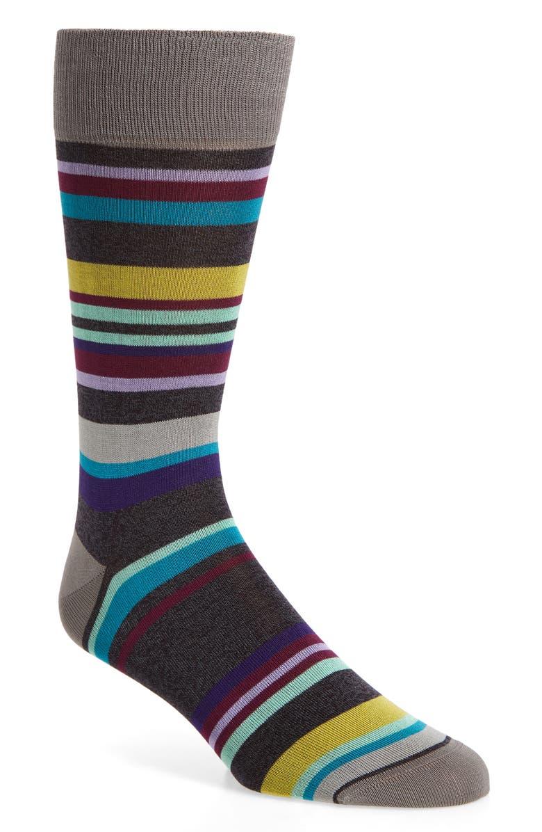 BUGATCHI Dot Socks, Main, color, CHARCOAL