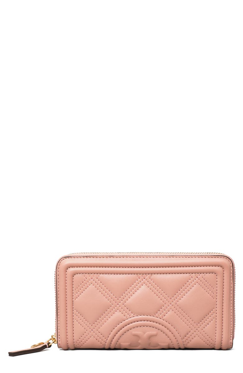TORY BURCH Fleming Quilted Leather Continental Wallet, Main, color, PINK MOON