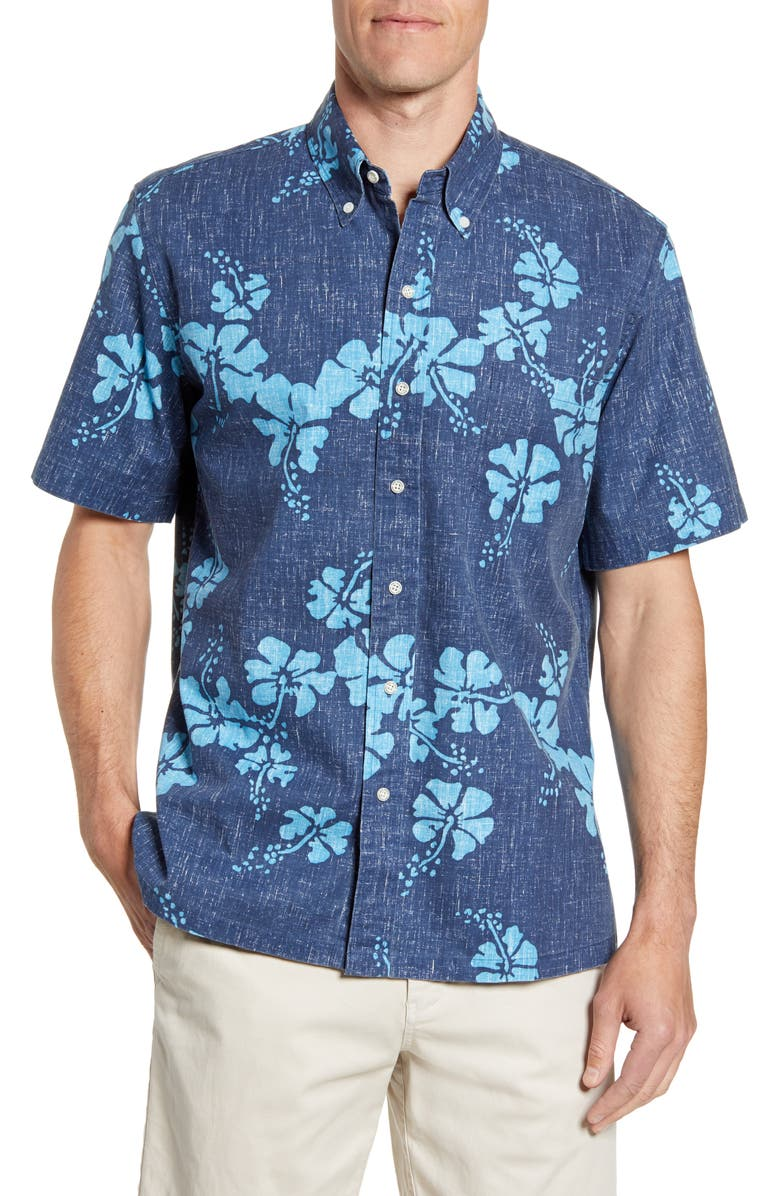 REYN SPOONER 50th State Classic Fit Floral Short Sleeve Button-Down Sport Shirt, Main, color, DRESS BLUES