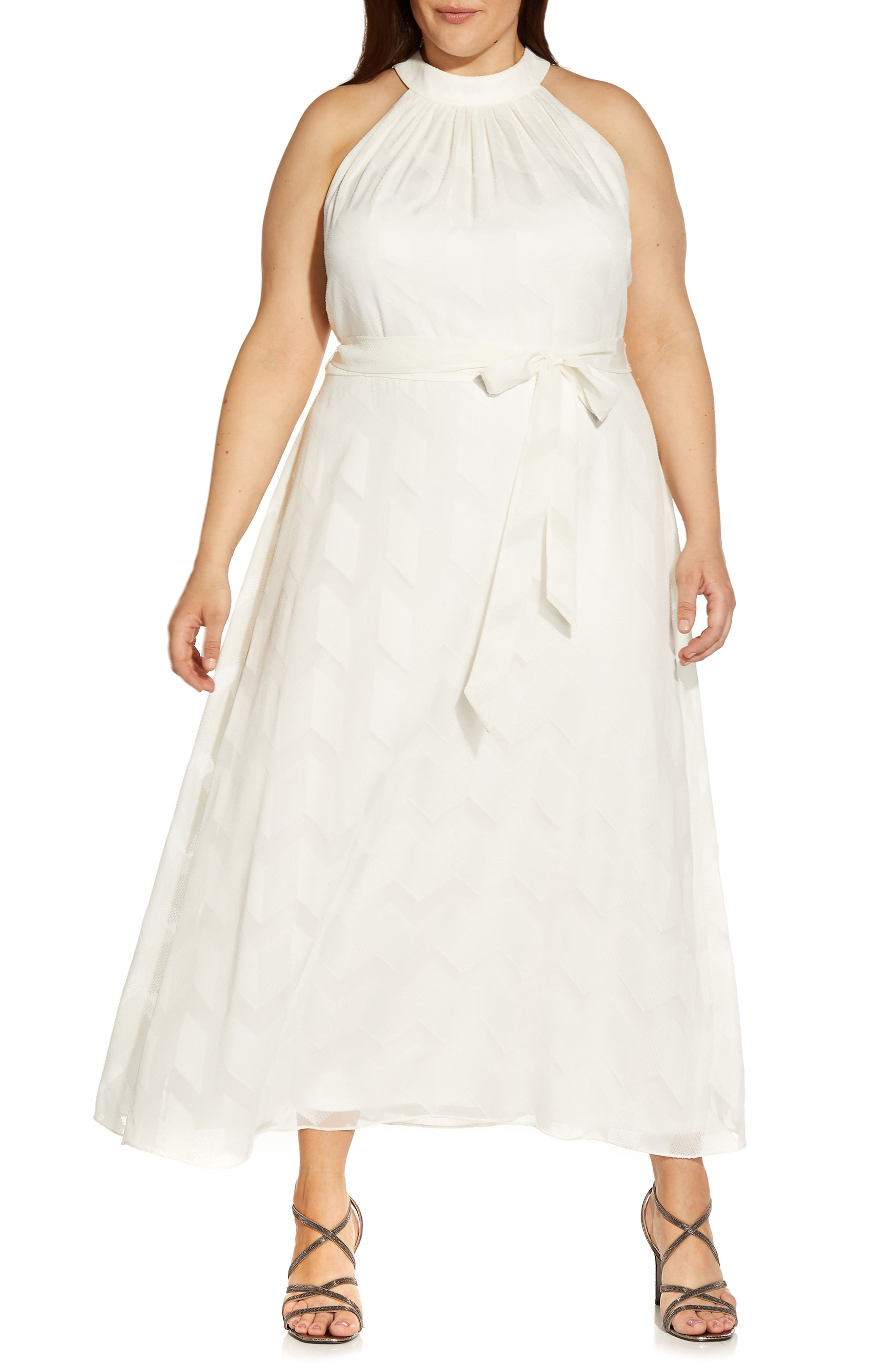 Geometric Jacquard Halter Dress