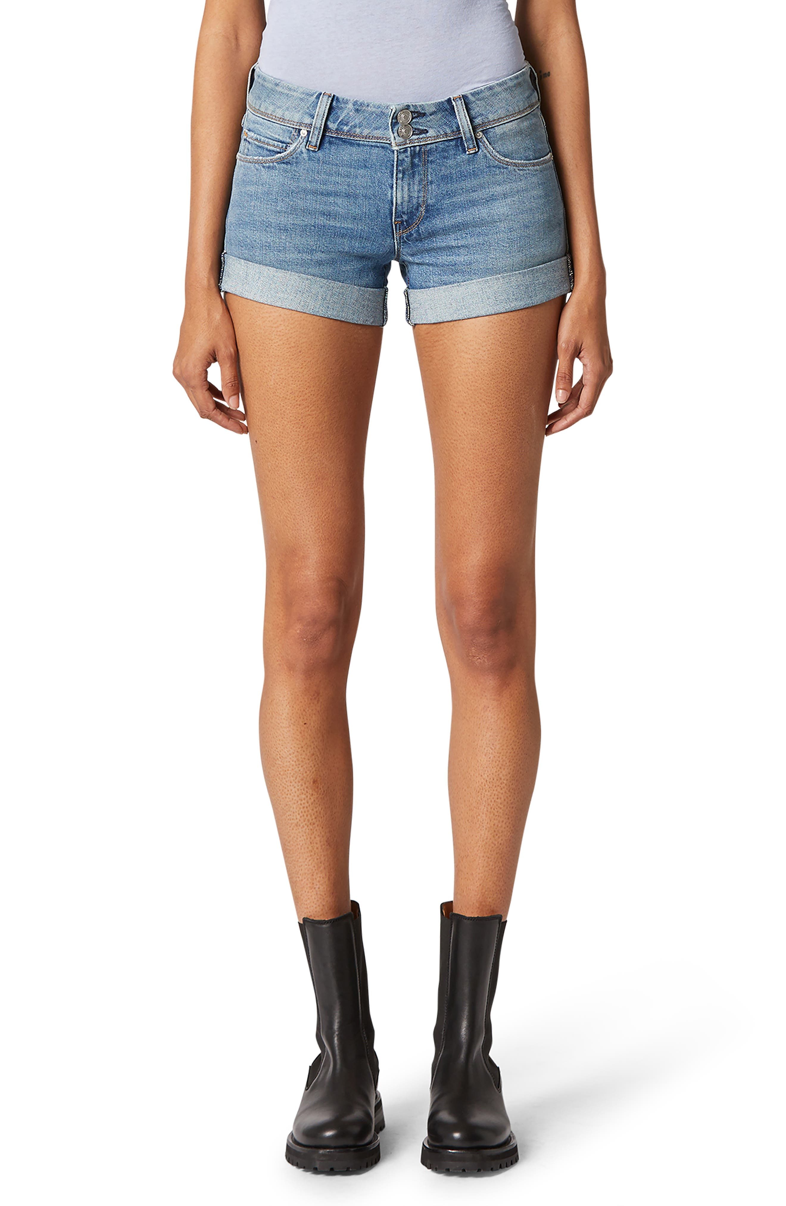 You\\\'ll be ready for warm-weather fun in easygoing cuffed denim shorts finished with signature triangle-flap back pockets. Style Name: Hudson Jeans Croxley Cuff Denim Shorts (Reaction). Style Number: 6011111. Available in stores.