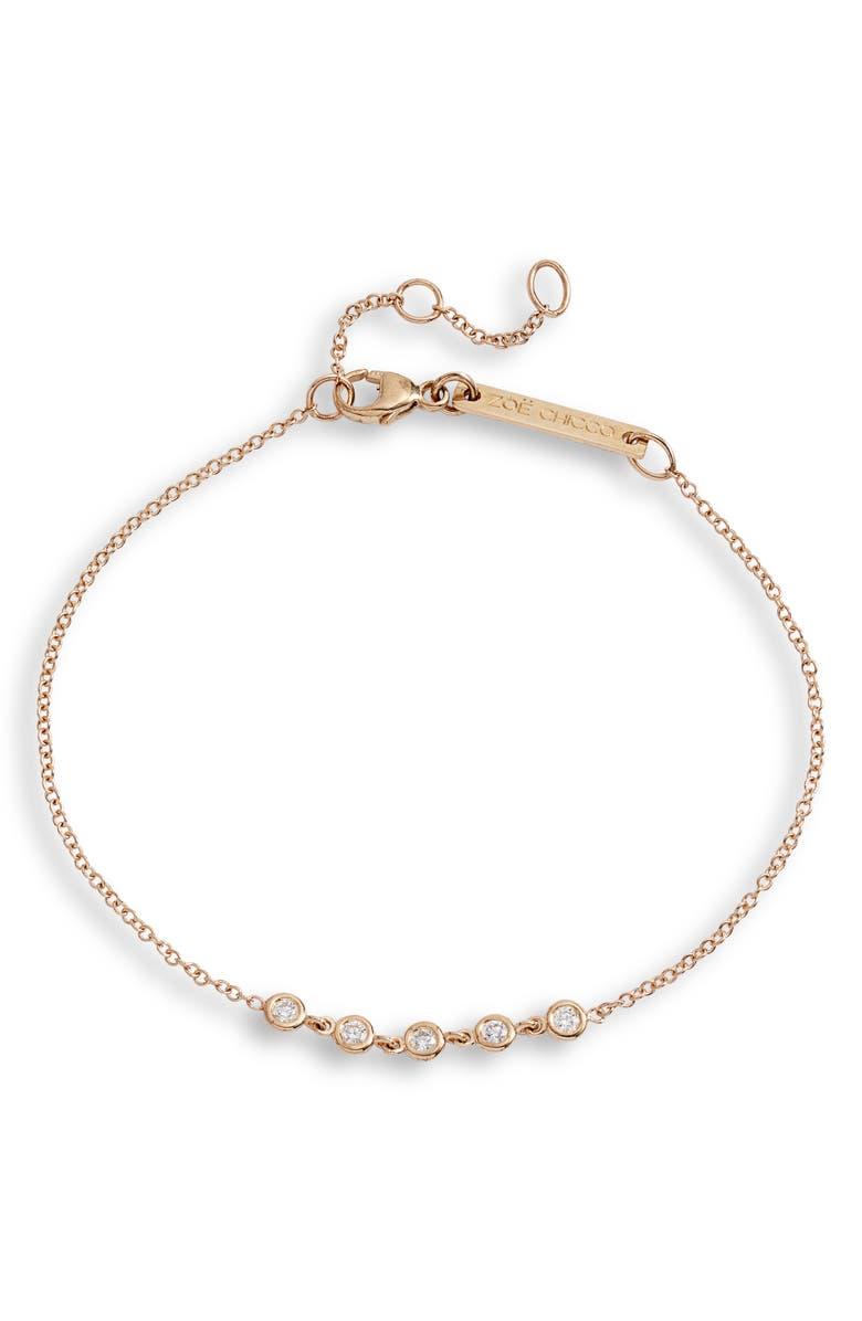 ZOË CHICCO Bezel Diamond Tennis Bracelet, Main, color, 710