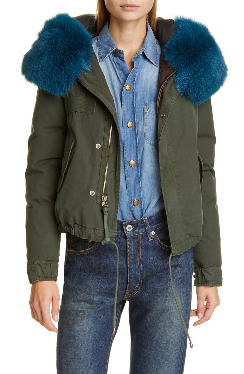 MR & MRS ITALY Short Down Army Jacket with Genuine Fox Fur Trim, Main, color, 300