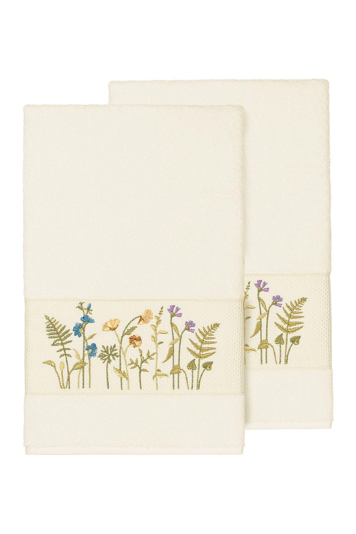 Image of LINUM HOME Serenity Embellished Bath Towel - Set of 2 - Cream