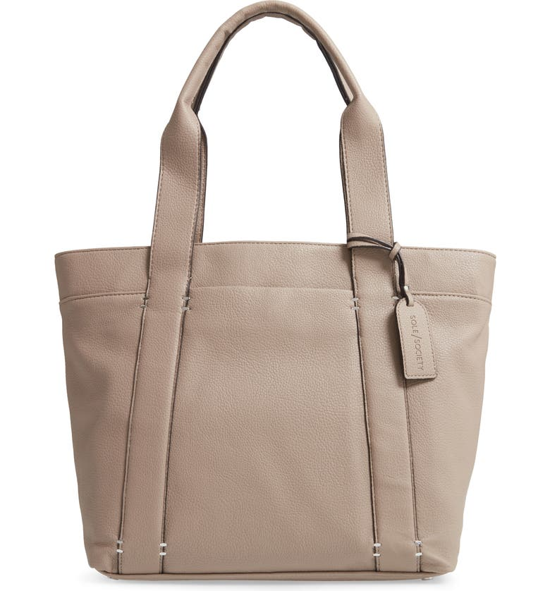 SOLE SOCIETY Kwaye Faux Leather Tote, Main, color, MUSHROOM