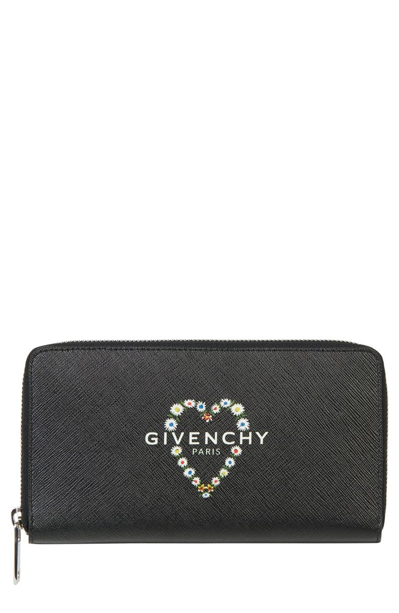 GIVENCHY Flower Heart Logo Continental Wallet, Main, color, BLACK