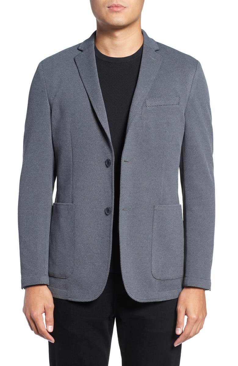 VINCE CAMUTO Slim Fit Stretch Knit Sport Coat, Main, color, CHARCOAL SOLID
