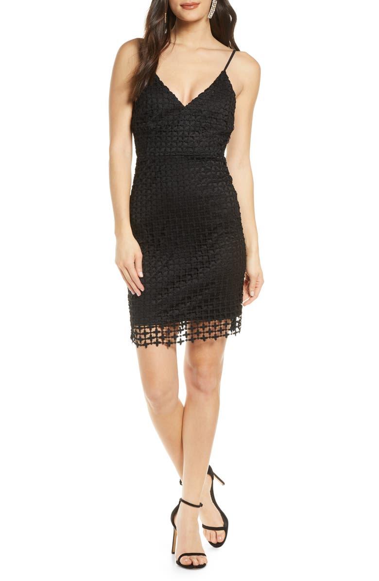 LULUS Kindhearted Geo Lace Minidress, Main, color, BLACK