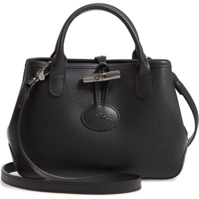 Longchamp Mini Roseau Leather Crossbody Bag - Black