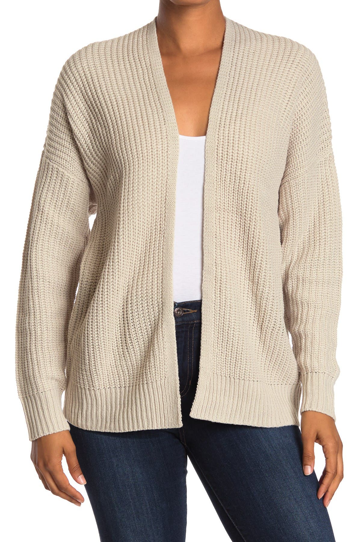 Image of Double Zero Open Front Drop Shoulder Cardigan