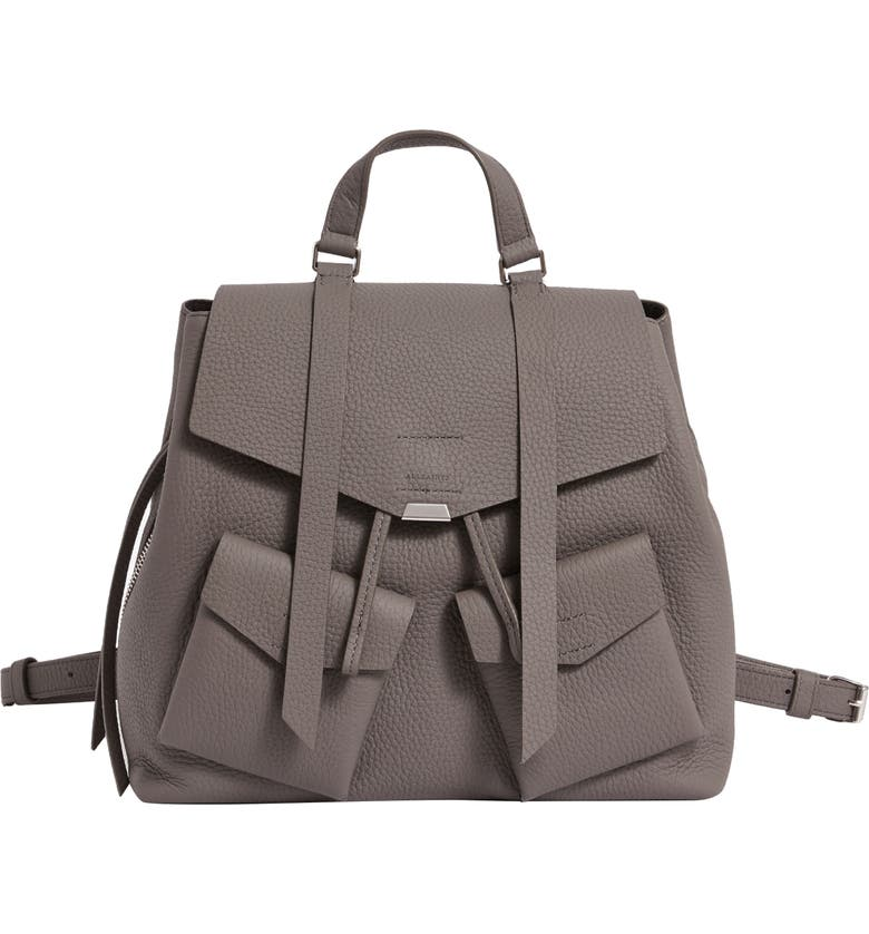 ALLSAINTS Captain Lea Leather Backpack, Main, color, STORM GREY