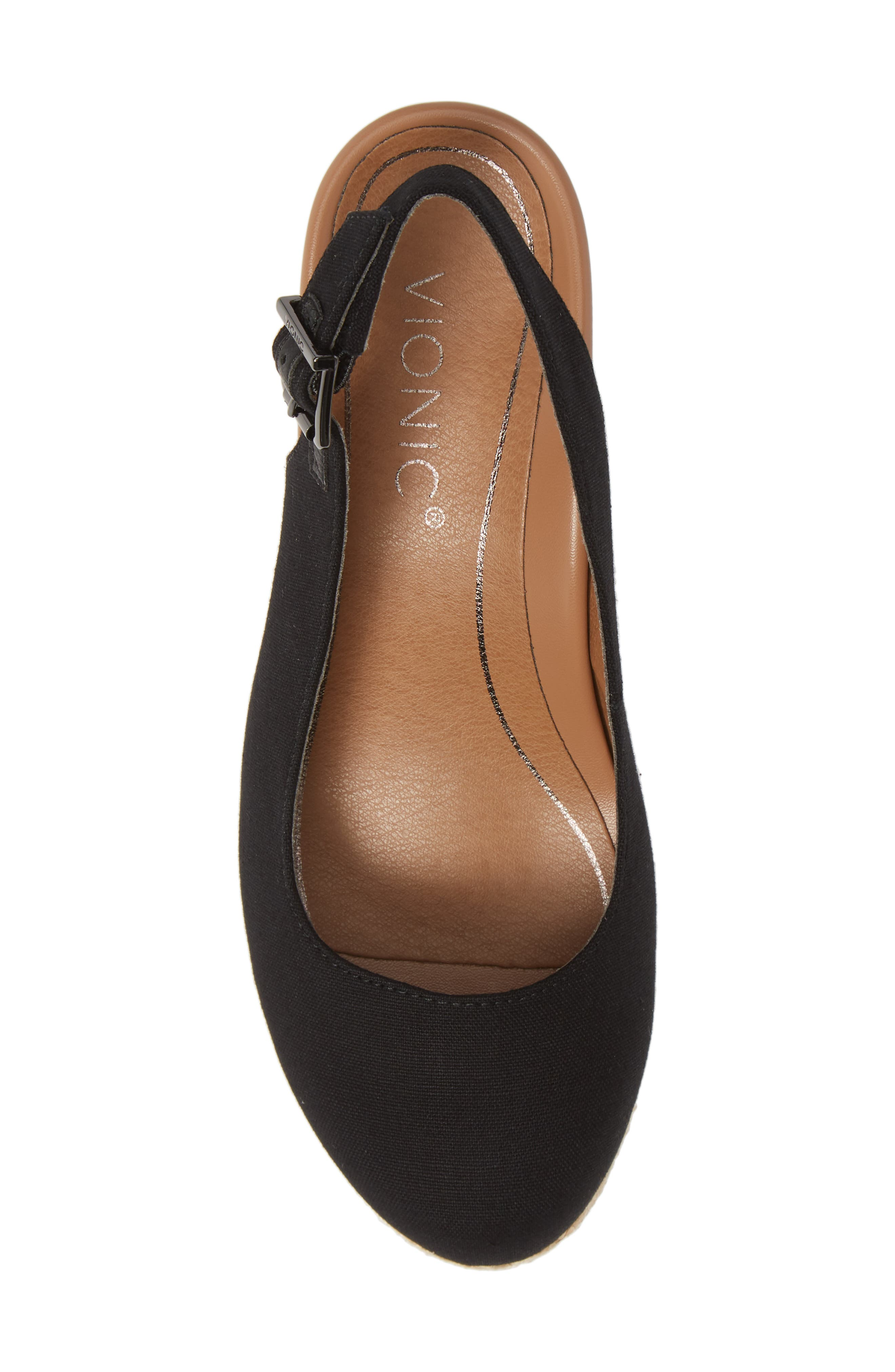 ,                             Coralina Orthaheel<sup>®</sup> Espadrille Wedge Slingback Sandal,                             Alternate thumbnail 5, color,                             BLACK CANVAS