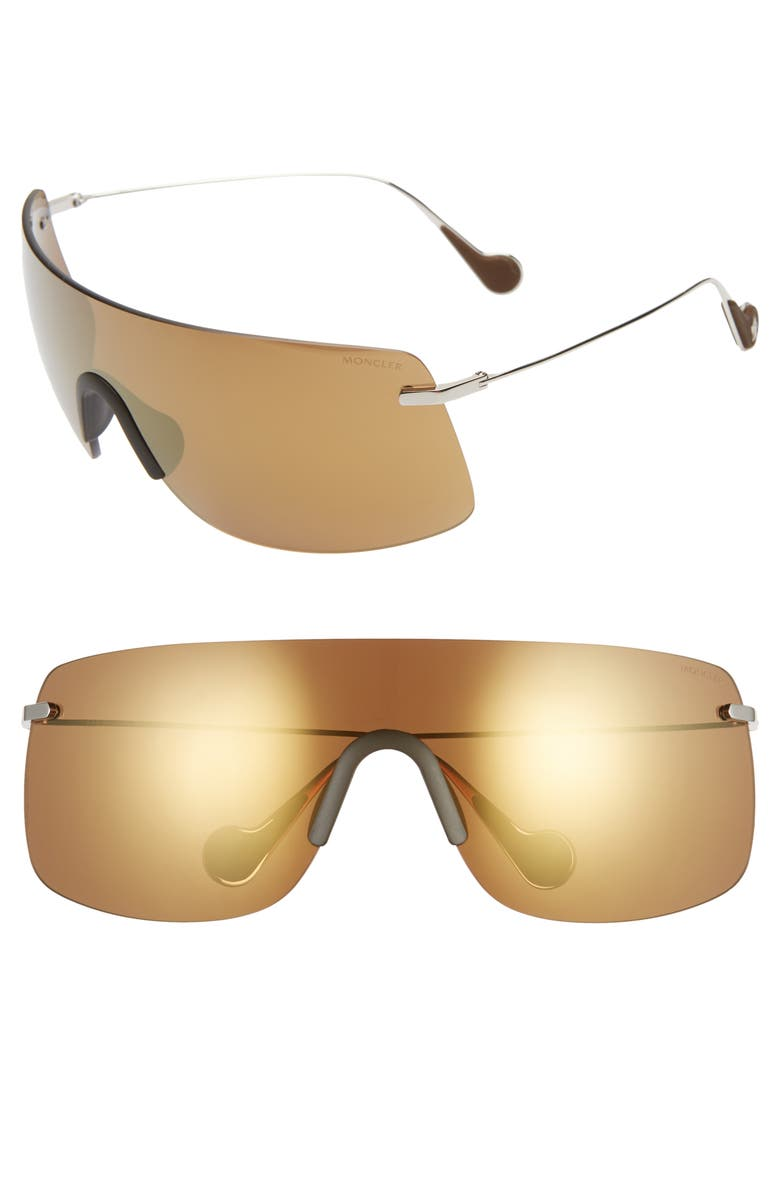 MONCLER x Valextra Genius 1952 Mirrored Shield Sunglasses, Main, color, SHINY PALLADIUM/ BROWN MIRROR