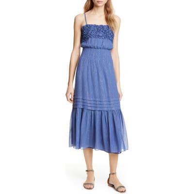 Rebecca Taylor Metallic Cotton & Silk Sundress, Blue