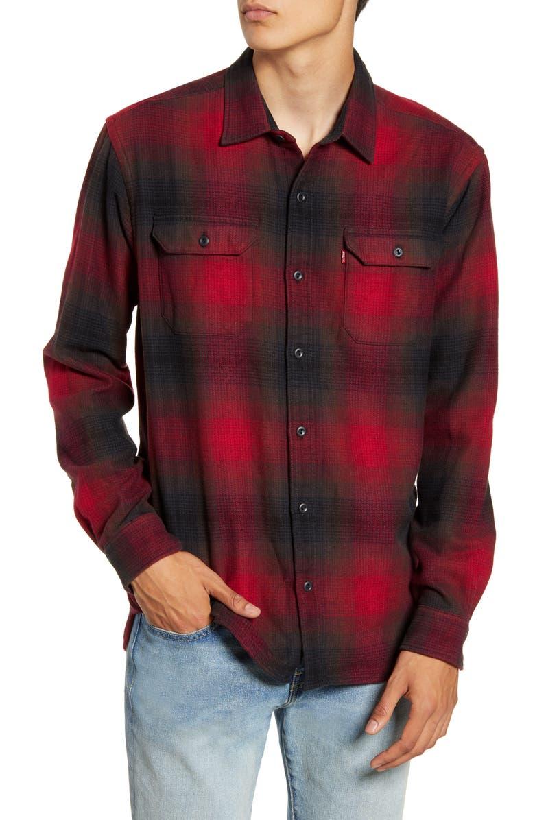 LEVI'S<SUP>®</SUP> Jackson Slim Fit Check Button-Up Flannel Shirt, Main, color, DADIHU CRIMSON