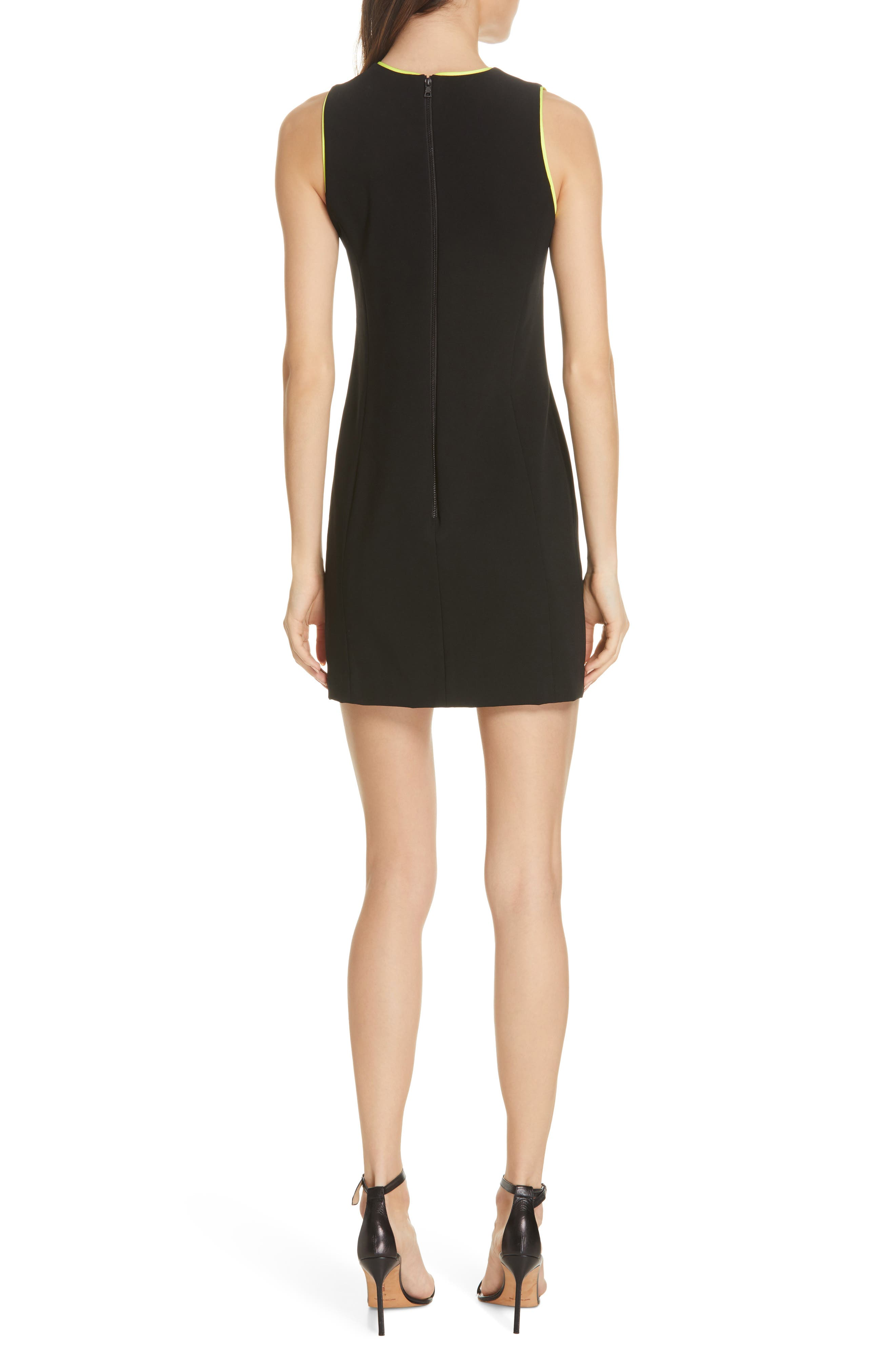,                             Clyde A-Line Dress,                             Alternate thumbnail 2, color,                             BLACK/ NEON YELLOW
