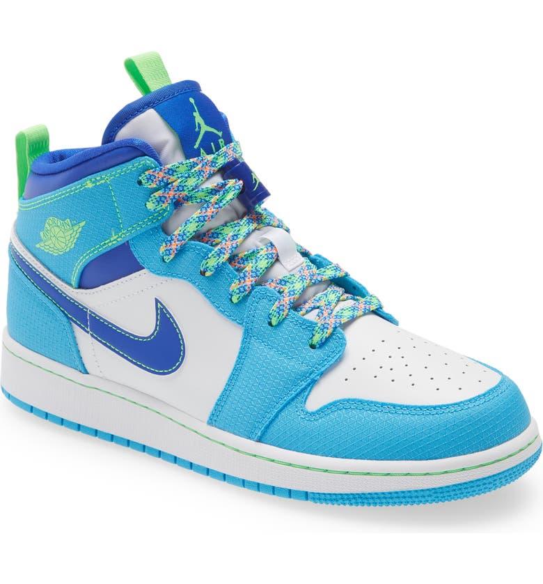 NIKE Air Jordan 1 Mid SE Basketball Sneaker, Main, color, POWDER BLUE/ BLUE/ GREEN