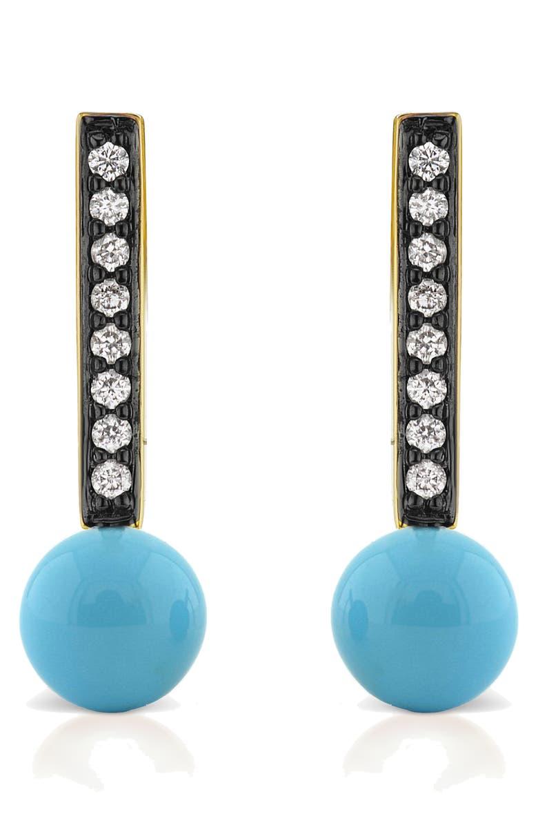 SORELLINA Diamond Pavé Stud Earrings, Main, color, TURQUOISE