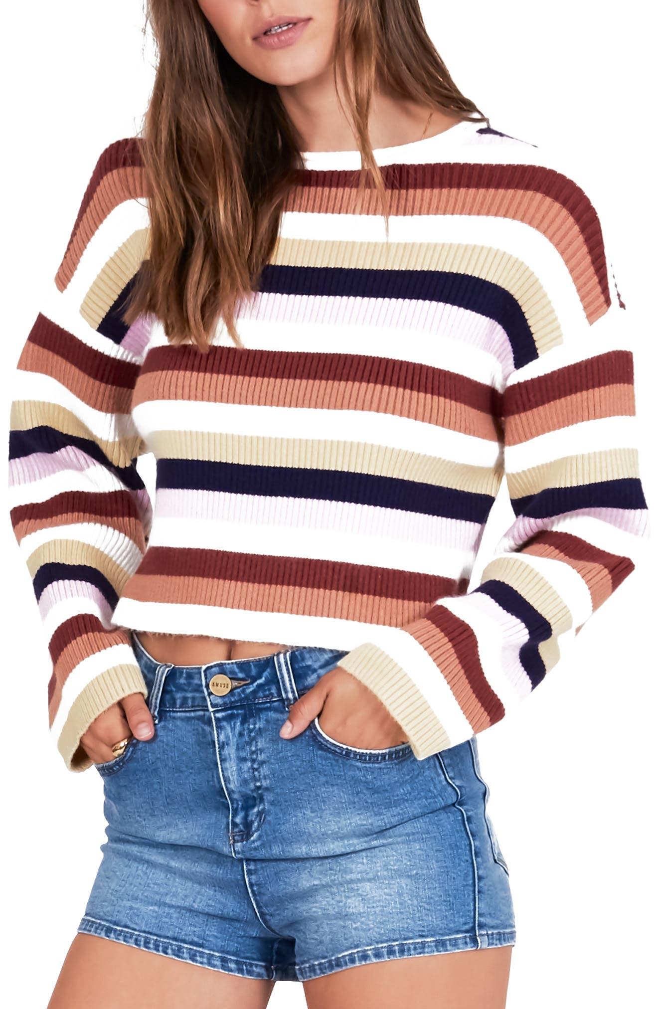 ,                             Bahia Stripe Crop Sweater,                             Main thumbnail 4, color,                             100