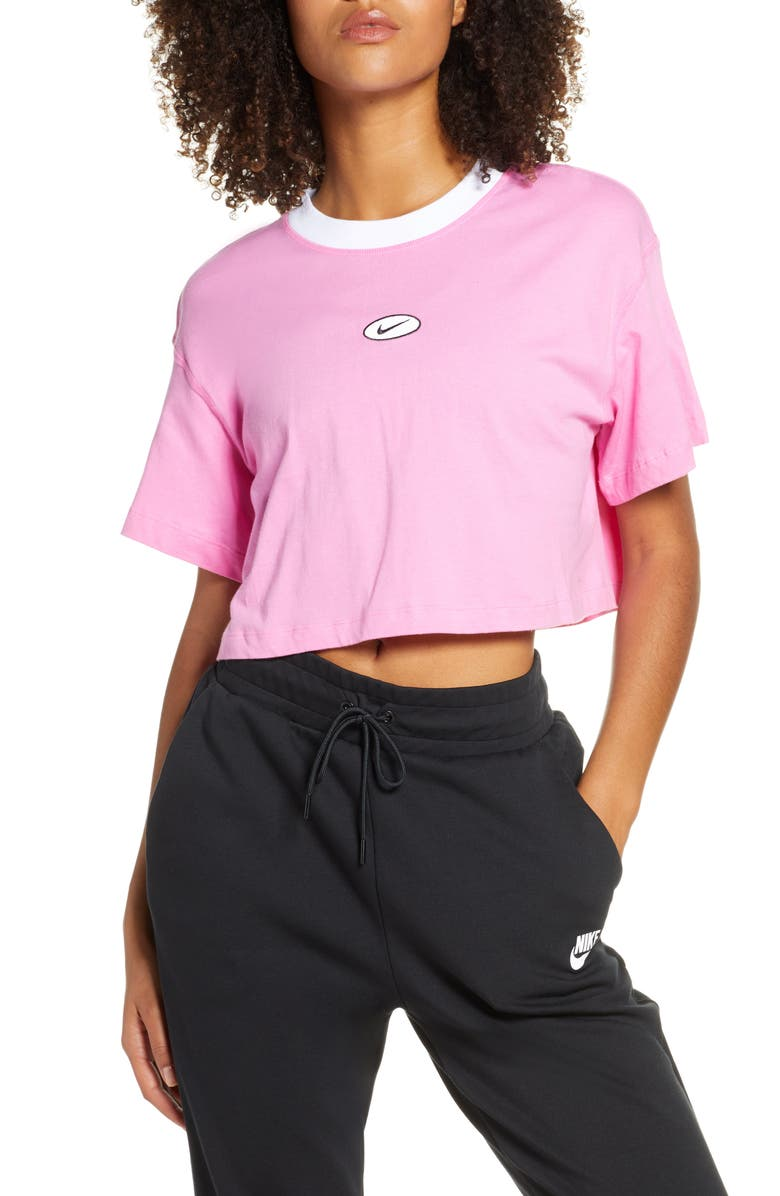 NIKE Sportswear Swoosh Crop Tee, Main, color, CHINA ROSE/ CHINA ROSE