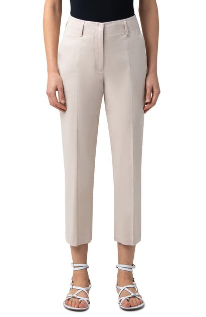 Akris FLAVIAN STRETCH COTTON POPLIN ANKLE PANTS