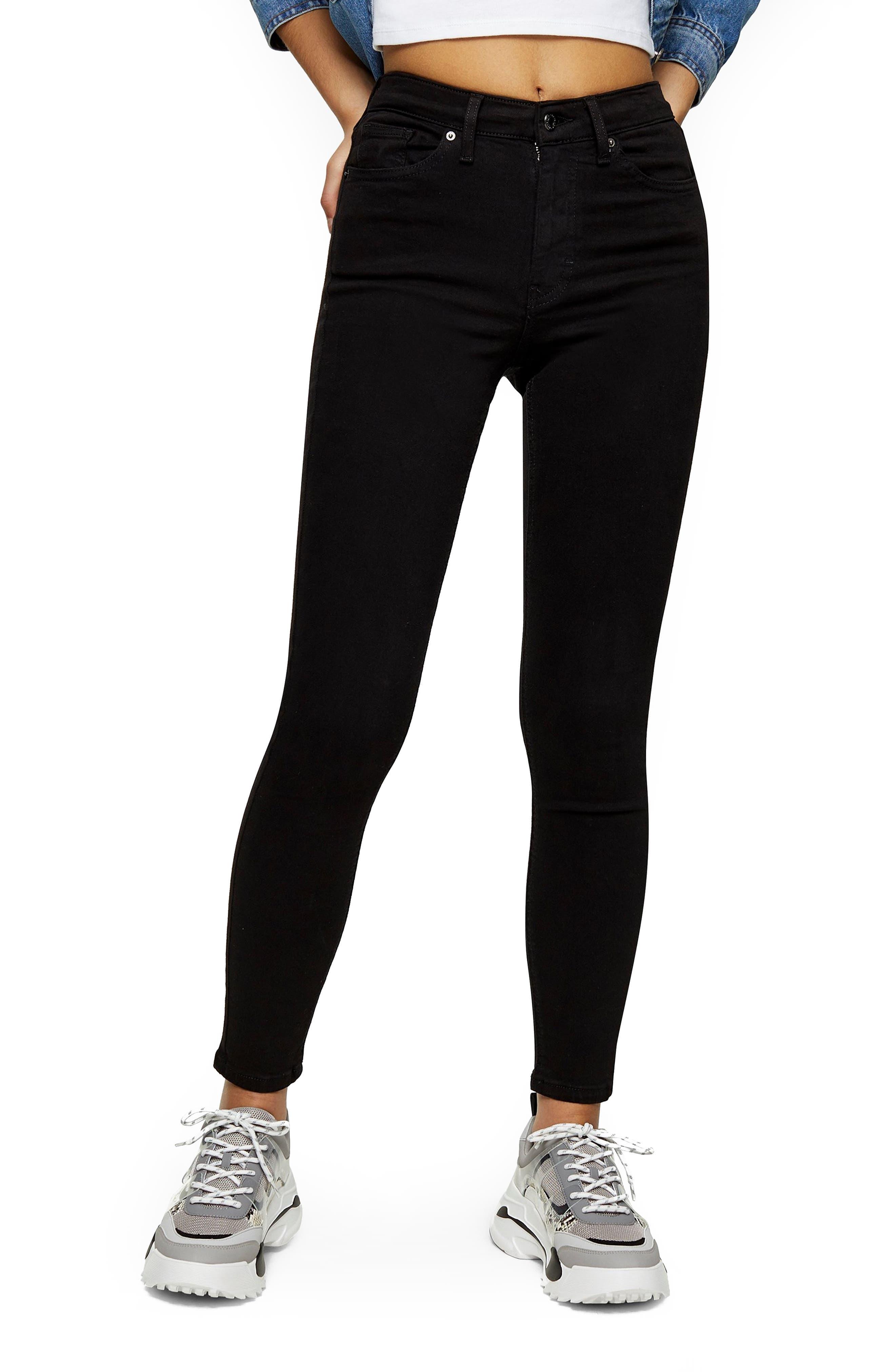 Women's Topshop Jamie High Waist Black Jeans,  36W x 32L (fits like 33-34W) - Black