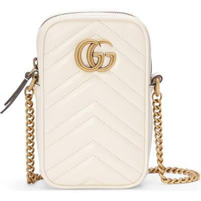 Gucci Mini Gg Marmont 2.0 Quilted Leather Crossbody Bag - White