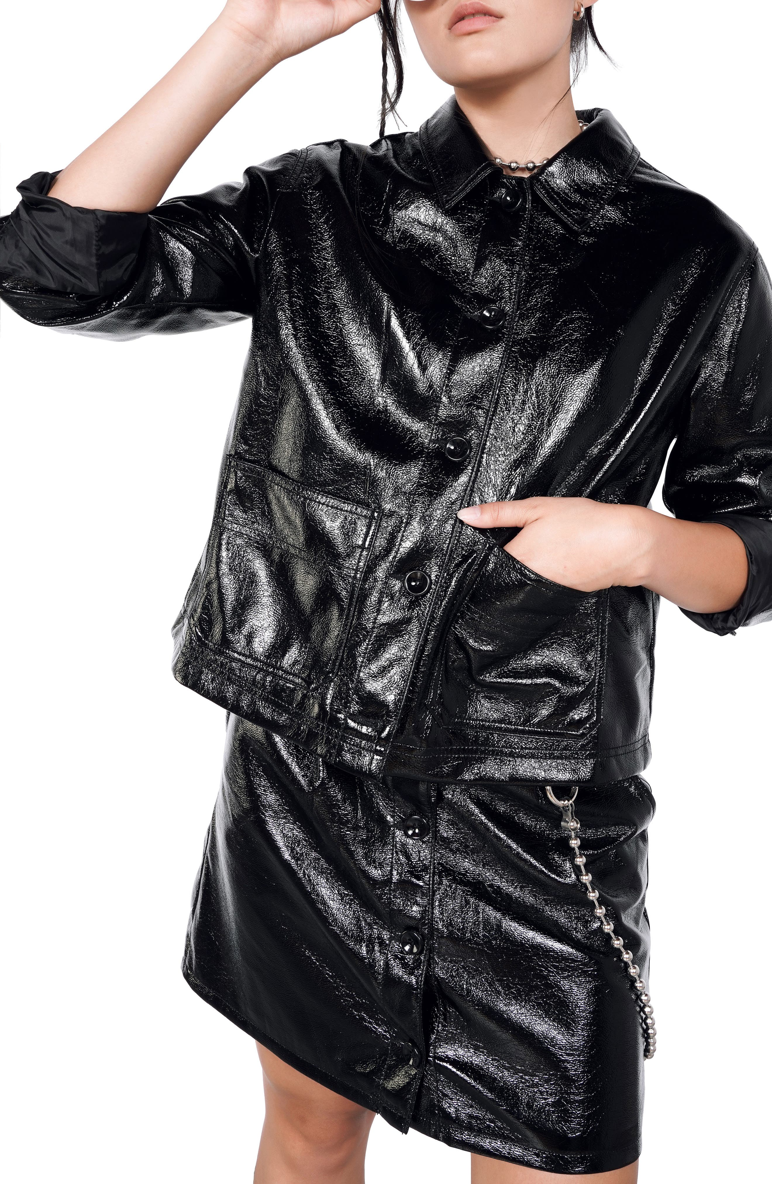 Women's Bp. + Wildfang Patent Faux Leather Jacket