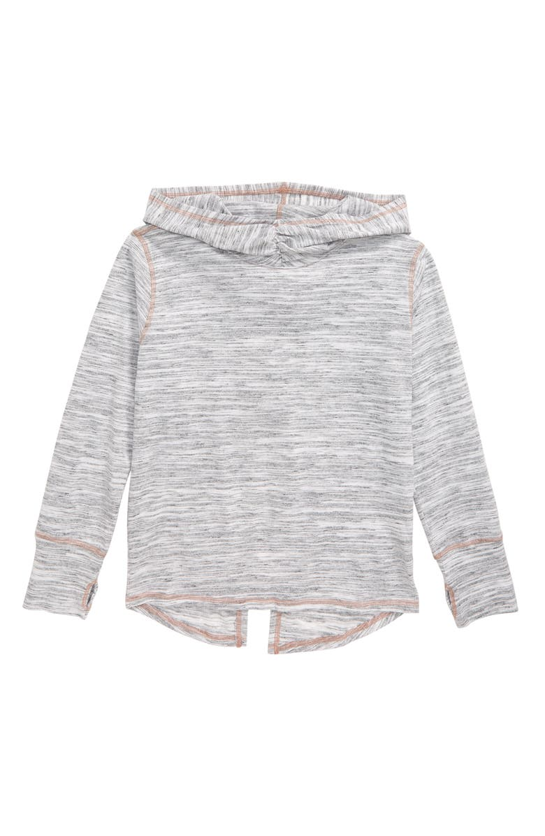 ZELLA GIRL Tulip Back Vinyasa Hoodie, Main, color, WHITE HEATHER