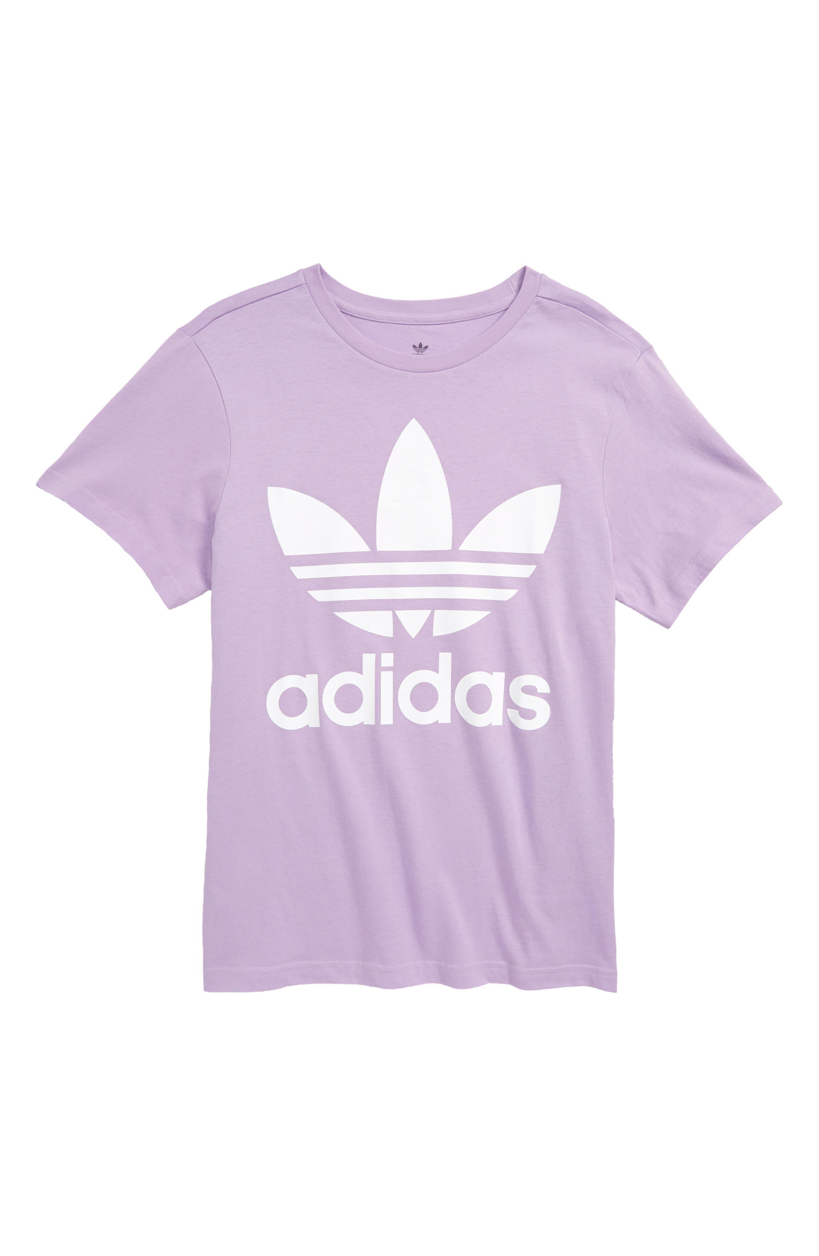 Trefoil Logo T-Shirt, Main, color, PURGLO/ WHITE