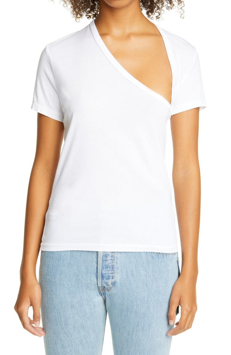 JOHN ELLIOTT Asymmetrical Neck Supima<sup>®</sup> Cotton T-Shirt, Main, color, WHITE