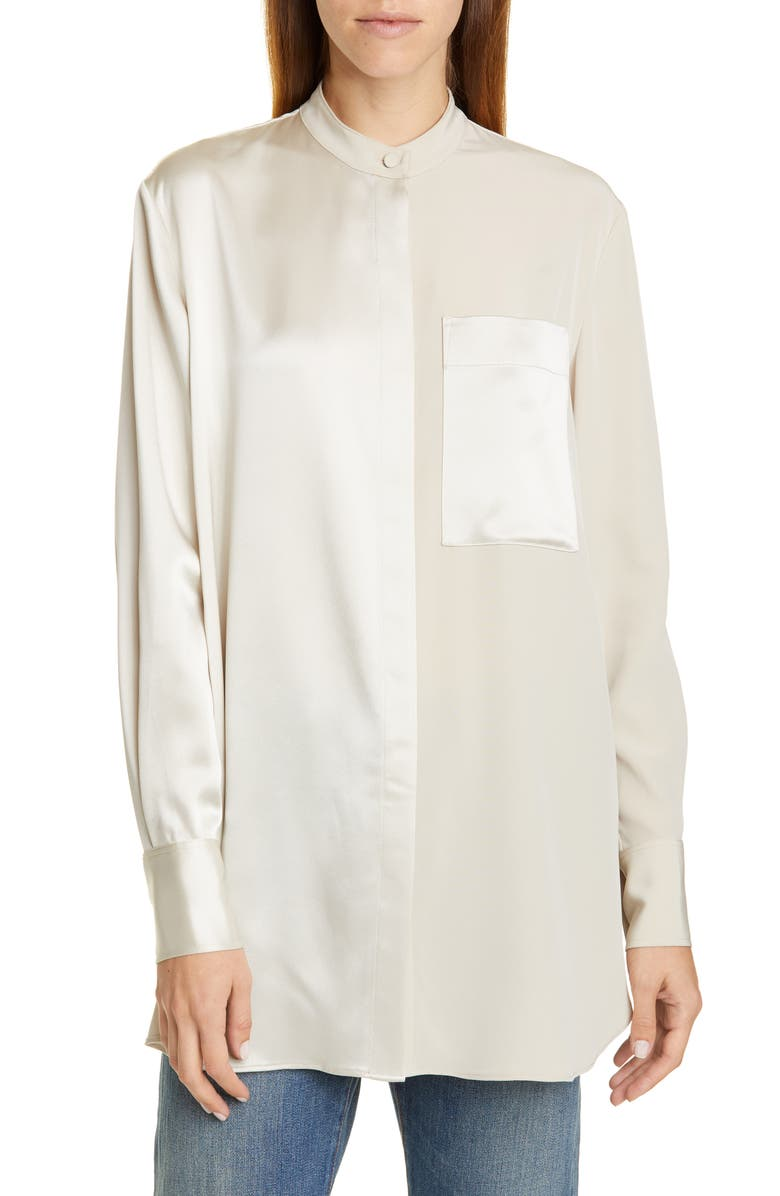 CO Split Front Long Sleeve Shirt, Main, color, CHAMPAGNE