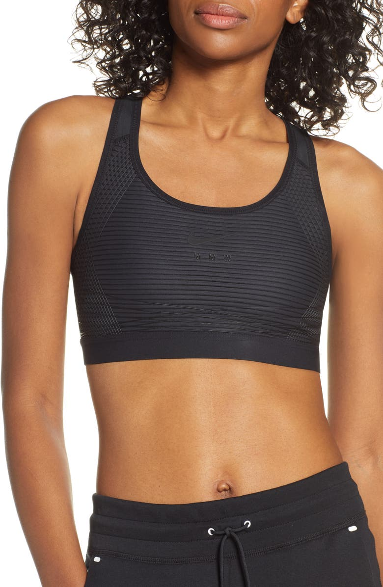 NIKE x MMW Beryllium Sports Bra, Main, color, BLACK