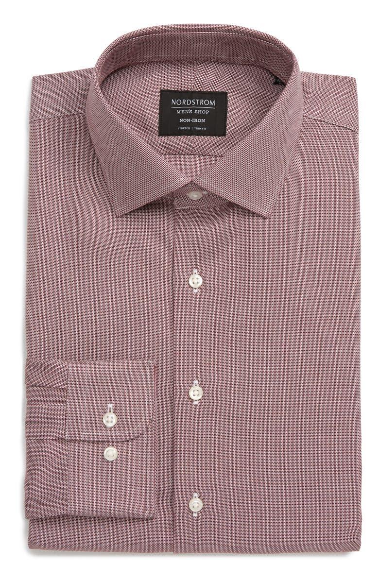 NORDSTROM MEN'S SHOP Trim Fit Non-Iron Dress Shirt, Main, color, RED RUMBA WHITE TEXTURE