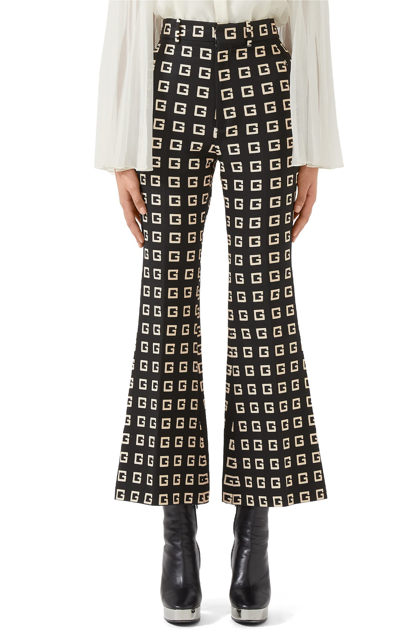Square-G Logo Print Faille Crop Flare Pants by Gucci, available on nordstrom.com for $1100 Kendall Jenner Pants Exact Product