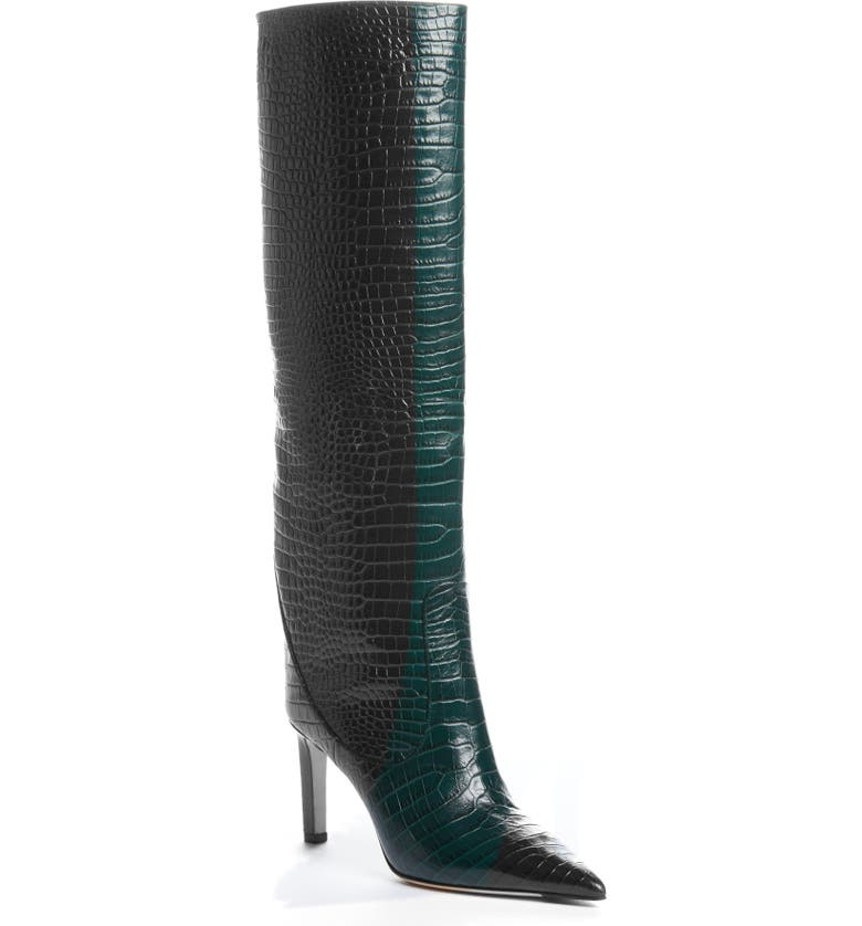 JIMMY CHOO Mavis Tall Boot, Main, color, DARK GREEN CROC