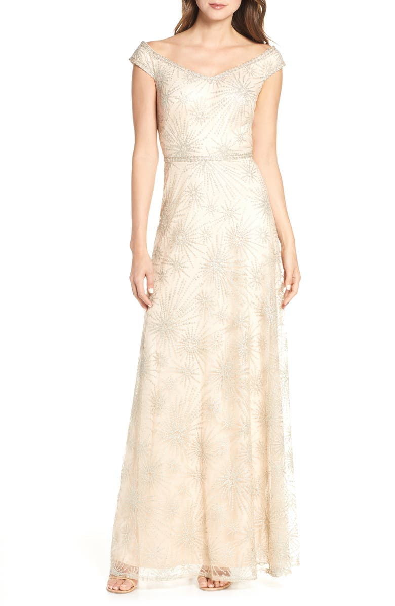 TADASHI SHOJI Off the Shoulder Lace Gown, Main, color, CHAMPAGNE