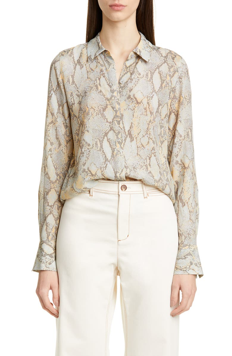 LAFAYETTE 148 NEW YORK Scottie Snake Print Blouse, Main, color, SILVER SAGE MULTI