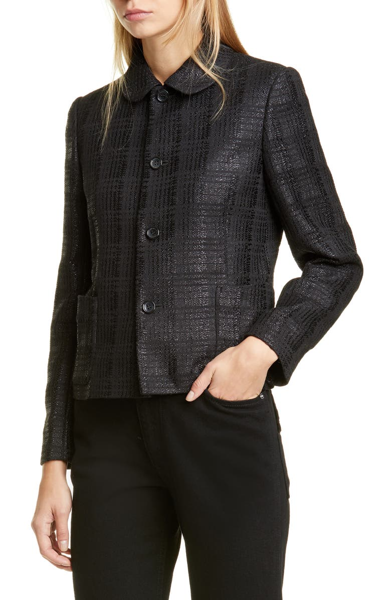 COMME DES GARÇONS Metallic Check Jacket, Main, color, BLACK
