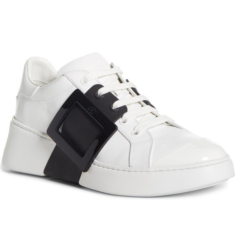 ROGER VIVIER Viv Buckle Lace-Up Sneaker, Main, color, WHITE/ BLACK
