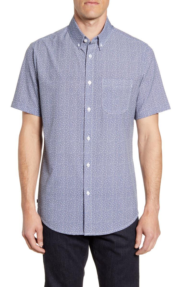 MIZZEN+MAIN Bueller Short Sleeve Button-Down Performance Shirt, Main, color, BLUE