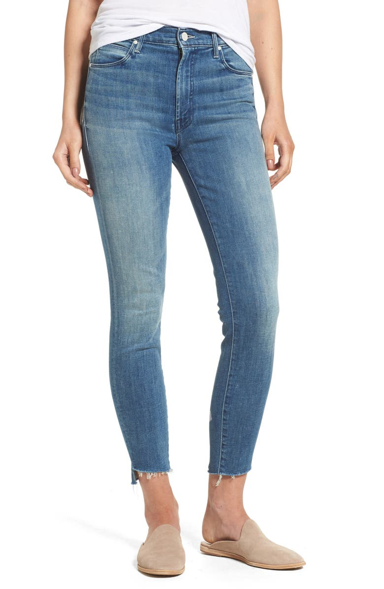 MOTHER The Stunner High Rise Ankle Fray Jeans, Main, color, 410