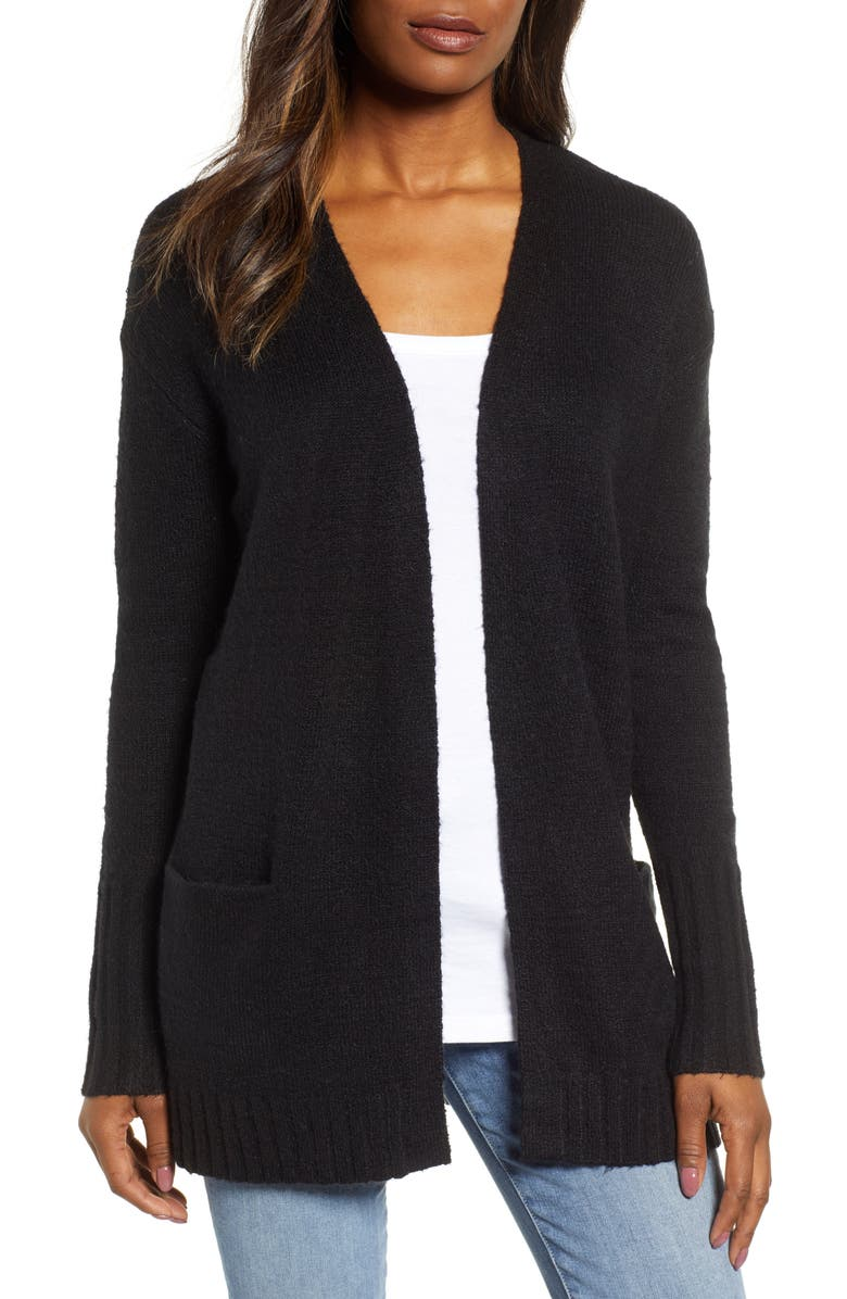 CASLON<SUP>®</SUP> Open Front Pocket Cardigan, Main, color, BLACK