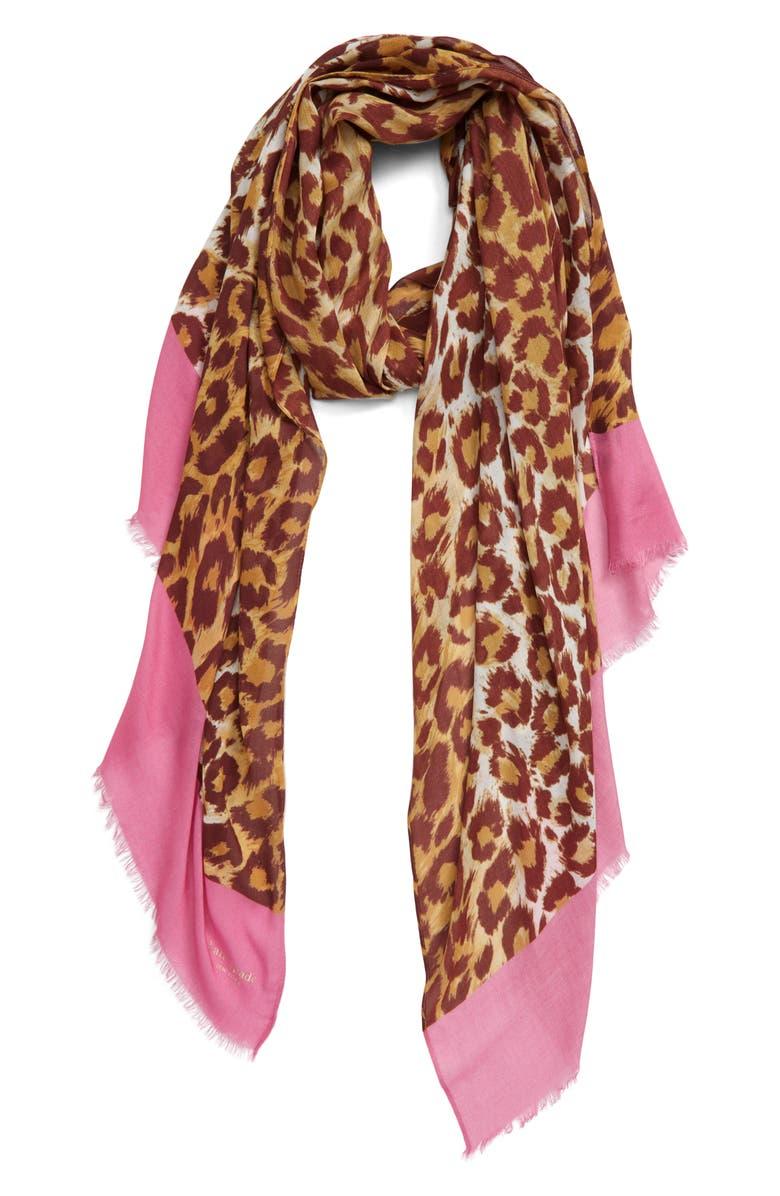 KATE SPADE NEW YORK panthera oblong scarf, Main, color, NATURAL