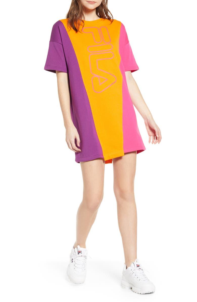 FILA Prima Colorblock T-Shirt Dress, Main, color, 875
