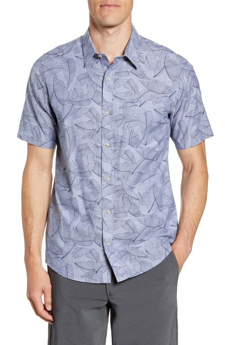 TRAVISMATHEW Plant Wall Regular Fit Short Sleeve Button-Up Shirt, Main, color, HEATHER VINTAGE INDIGO