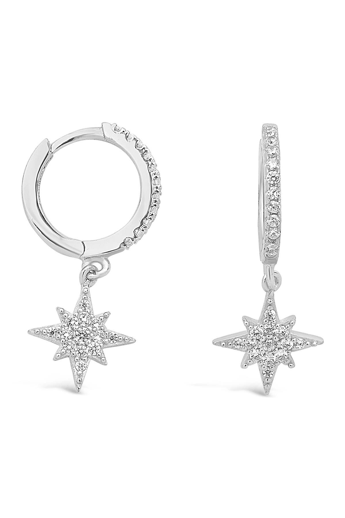 Image of Sterling Forever Sterling Silver Pave CZ Starburst Drop Huggie Hoop Earrings