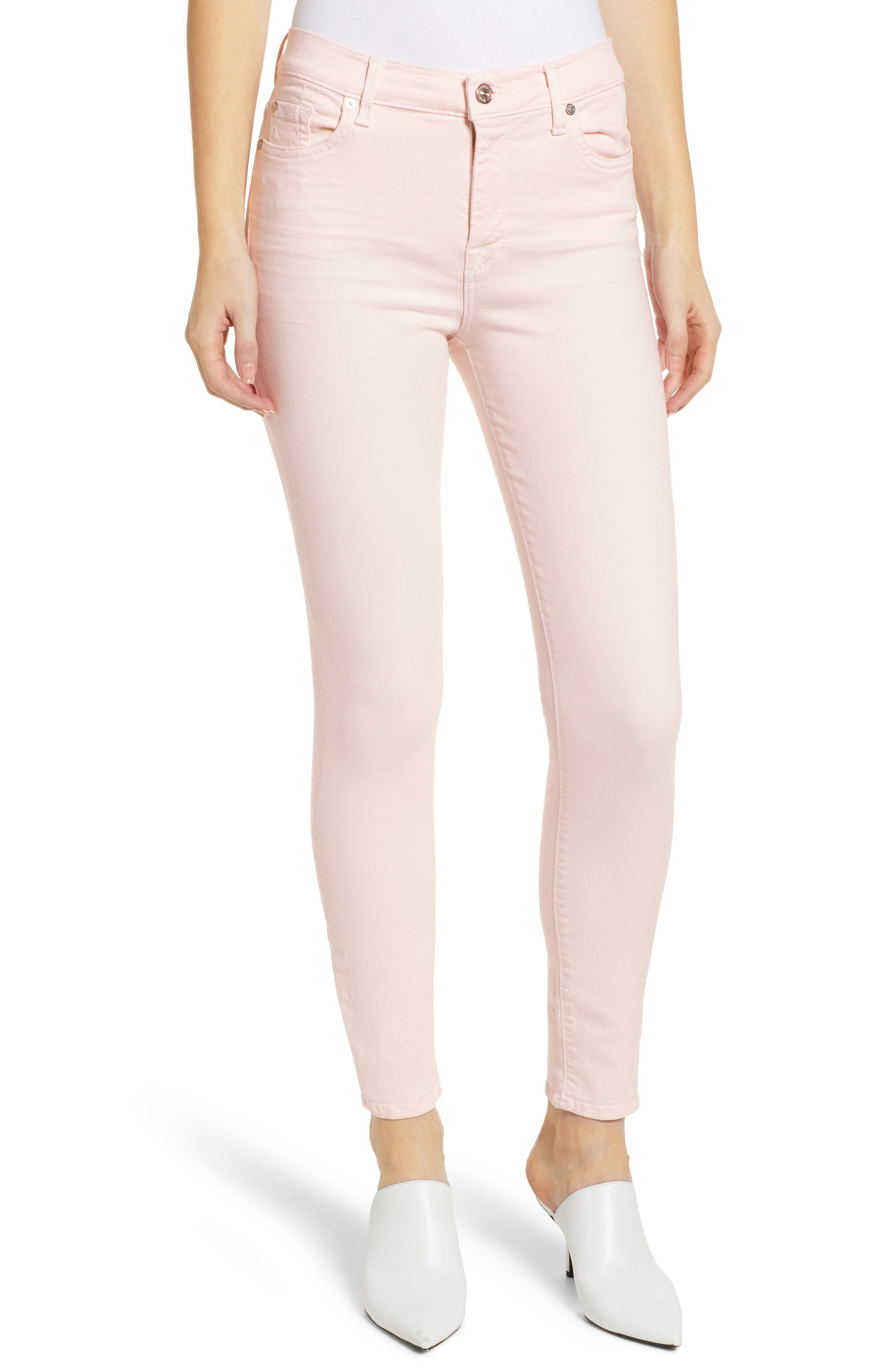 High Waist Ankle Skinny Jeans, Main, color, PINK SUNRISE