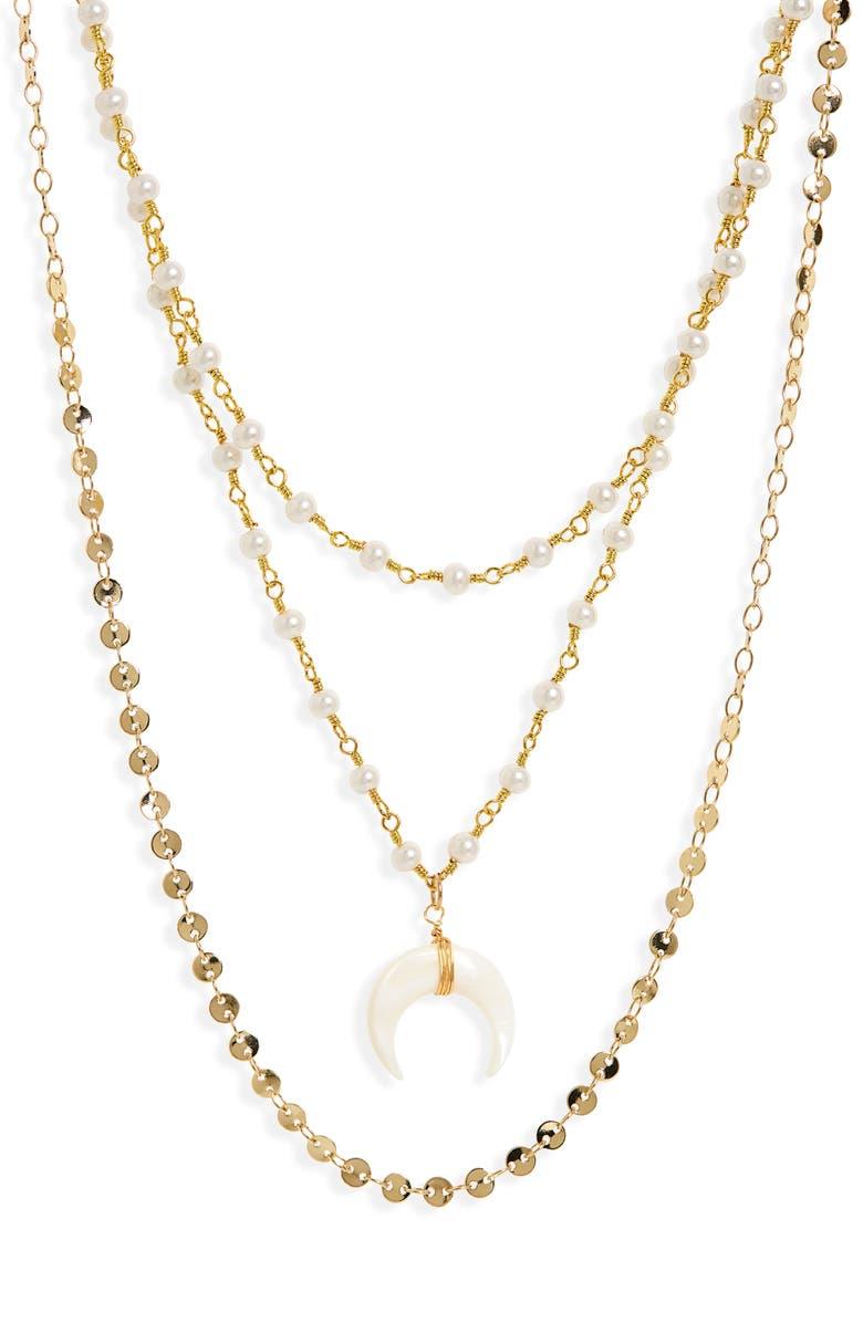PANACEA Horn Pendant Triple Row Necklace, Main, color, 710