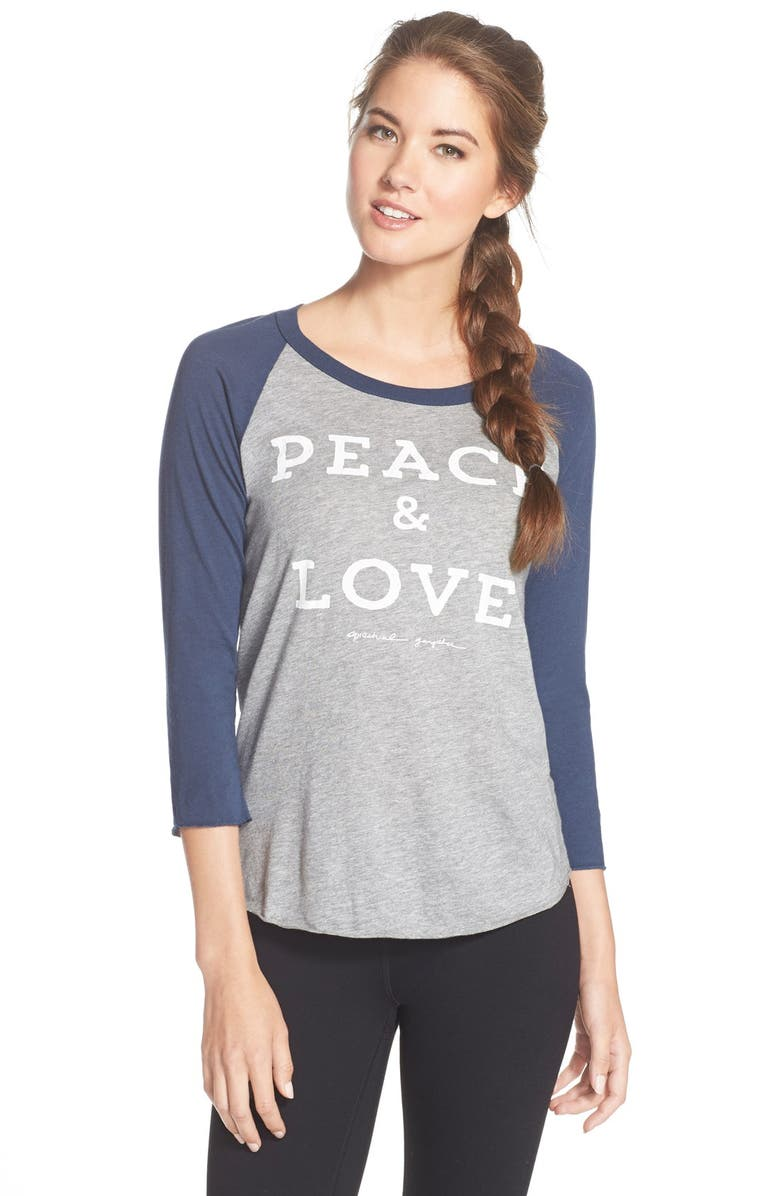 SPIRITUAL GANGSTER 'Peace & Love' Baseball Tee, Main, color, 400